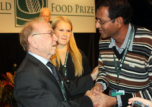 Dr. Daniel Hillel (left), winner of the 2012 World Food Prize for his pioneering work in micro-irrigation, greets Dr. Rajashekhara Rao Korada, a Borlaug Fellow from India, after the World Food Prize ceremony last month. Dr. Korada was one of 38 Borlaug Fellows from 18 countries who attended the annual Borlaug International Symposium and World Food Prize event Oct. 17-19. Since 2006, the Foreign Agricultural Service (FAS) has invited fellows to the event to meet current and former World Food Prize Laureates and to learn about critical agricultural issues facing our world today. (Courtesy Photo)