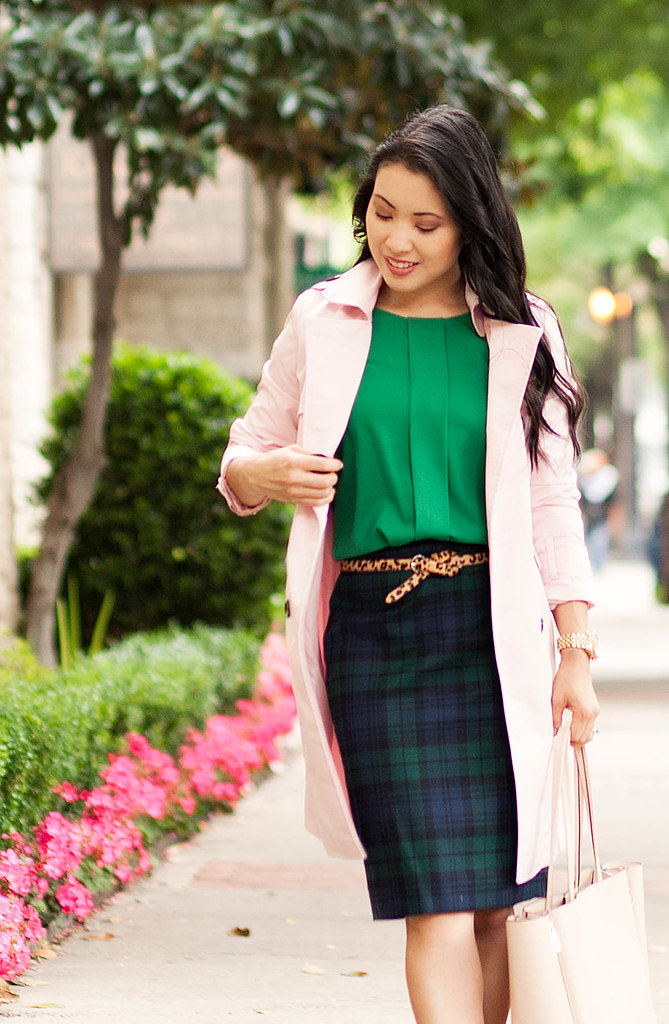 cute & little blog | petite fashion | pink trench coat, green flutter sleeve blouse, leopard belt, plaid skirt | spring outfit