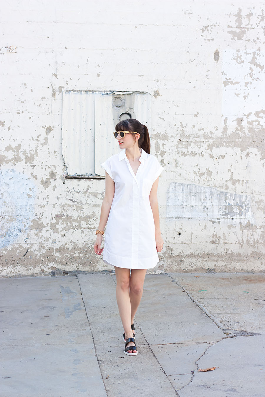 White Shirtdress, J.Crew Shirtdress, Everlane Sandals, Summer Outfit