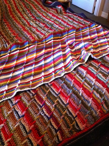 Grandma Meta's Afghan, and my homage in progress.