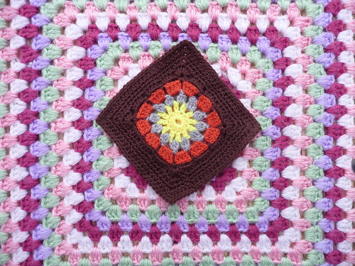 Kathryn (UK) Inspired by the Olympics! I think it is the Olympic Flame which has inspired her to make this Square. It's gorgeous thank you!
