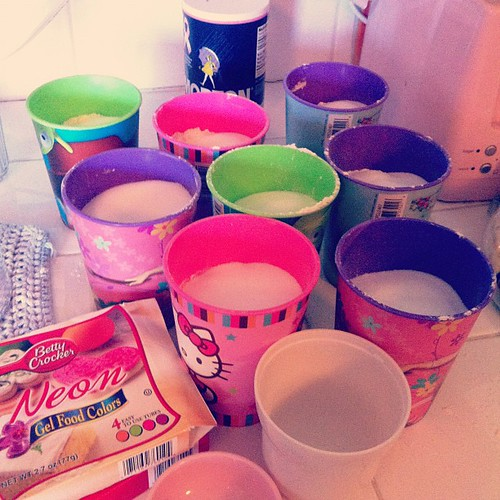 Making 8 batches of homemade play dough :)