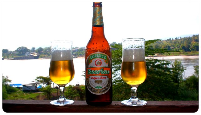 beer lao at mekong river