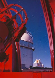 1988 Chile; La Silla at night; view from the dome of the Dutch Telescope
