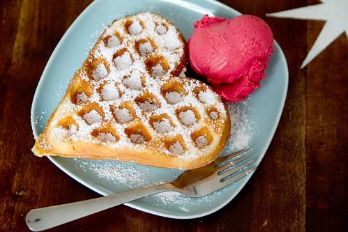 Diana's heart-shaped waffle