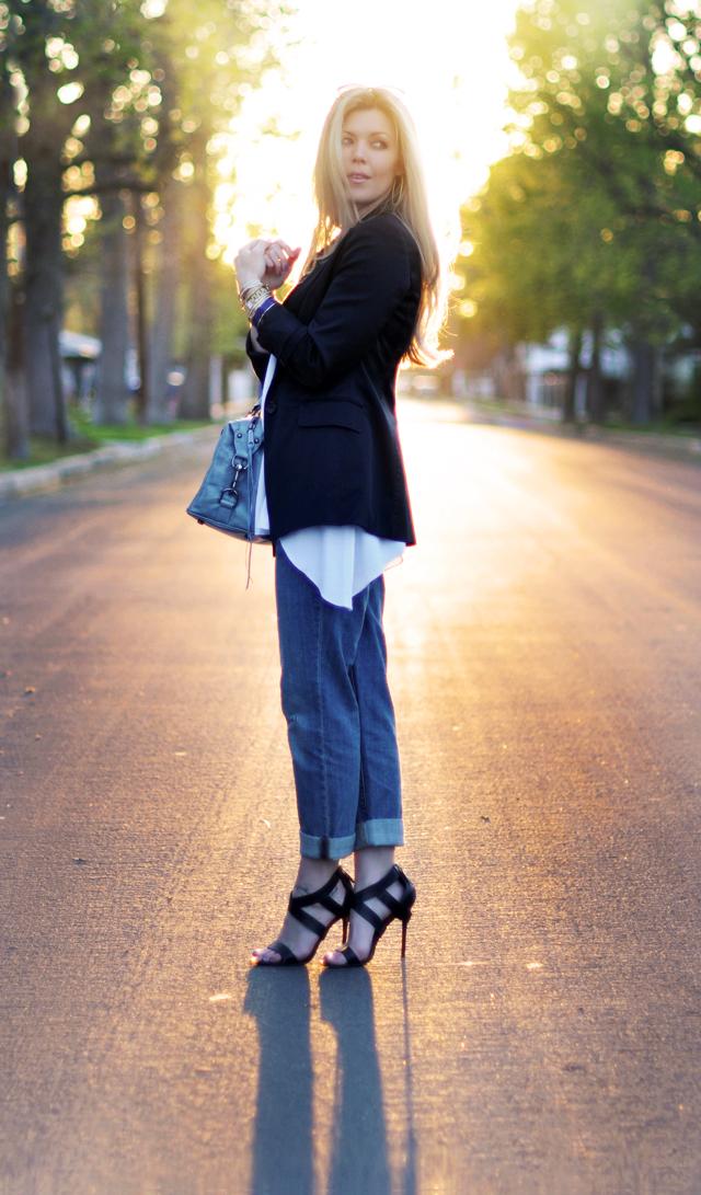 jeans-strappy heels- straight hair-black blazer