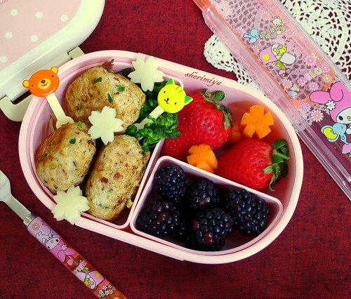 Mozza-Stuffed Turkeyballs Bento by sherimiya ♥