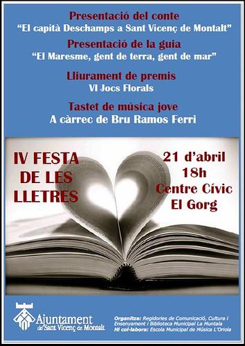 IV Festa de les lletres @ 21 abril 18 h Centre Cívic El Gorg by bibliotecalamuntala