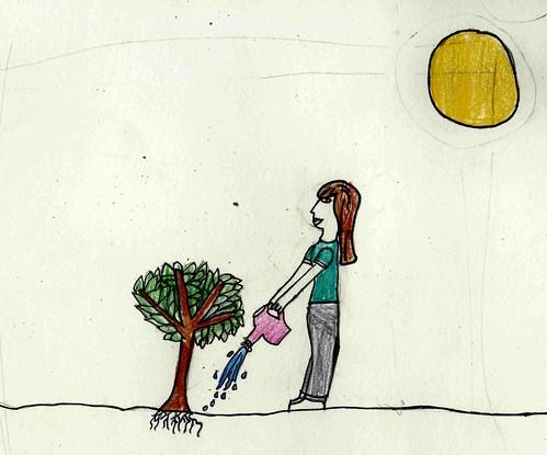 leslie planting tree   grade 4