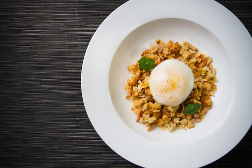 Poached Egg with Almond Bread Crunch and Sherry Caramel