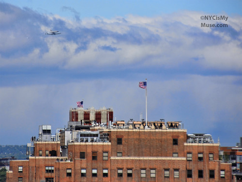 Space Shuttle flying up the Hudson over Google NYC HQ