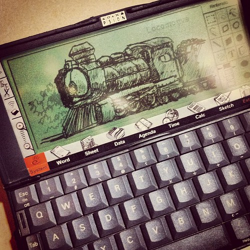 Doodling with 1997 Psion Series 5 PDA. Not bad for an old device. #pinoditart #neoretrogizmos