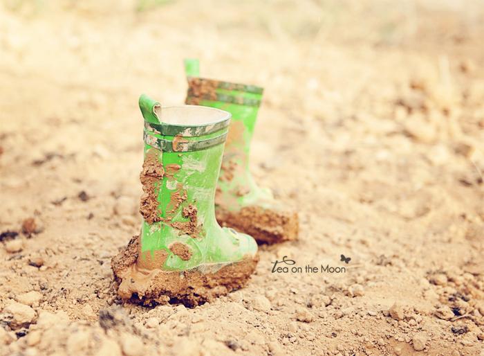 Huerto de niños botas de agua