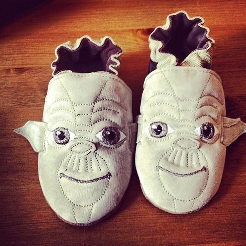 Kellan's new Yoda shoes. So cute! by Stv.