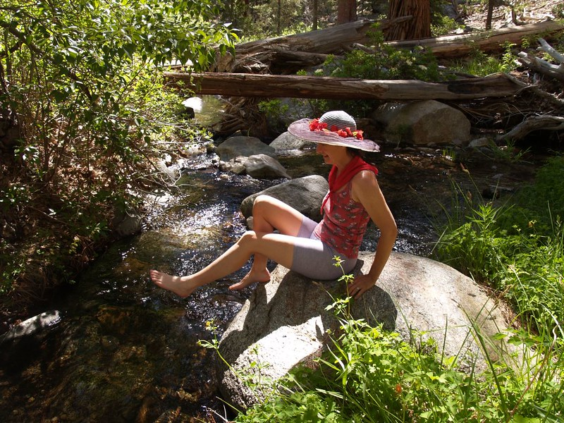 Cooling off those tired feet in Tahquitz Creek near Carumba Camp