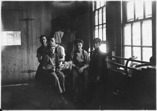 Noon hour in a furniture factory. Indianapolis, Ind, August 1908