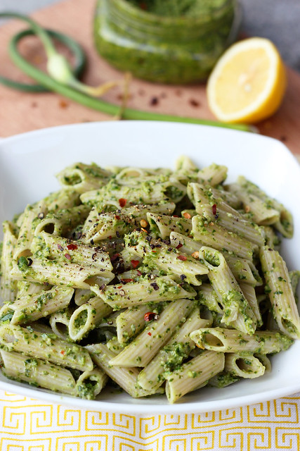 Garlic Scape and Swiss Chard Pesto - Gluten-free & Vegan