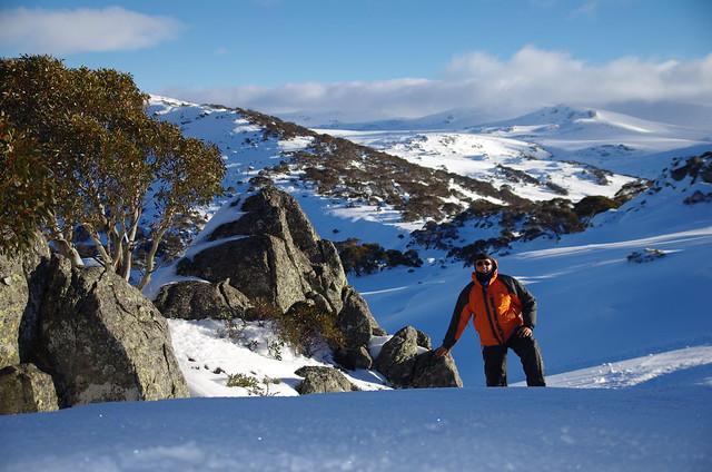 Climbing up to Mountain Snow Ridgeline