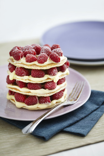white chocolate raspberry pancake stack
