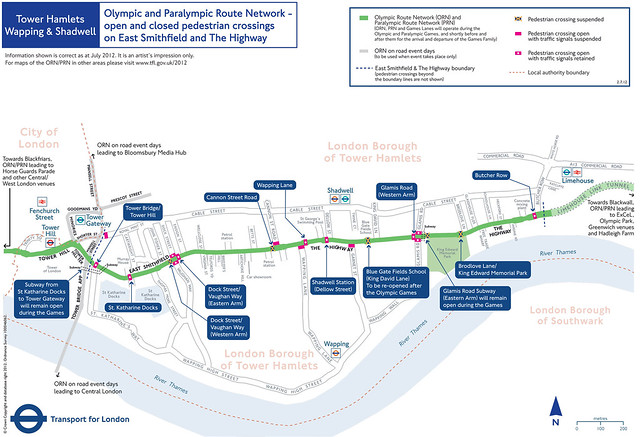 TfL map showing open and closed pedestrian crossings on East Smithfield and the Highway