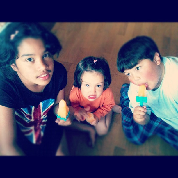❤ eating the ice lollies they made