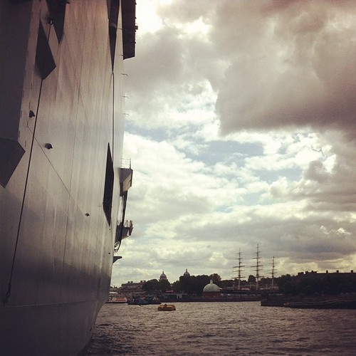 Two fine ships: HMS Ocean and the Cutty Sark, both in Greenwich this summer. by MAStapleton