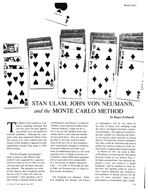 Stan Ulam John von Neumann, and the Monte Carlo Method
