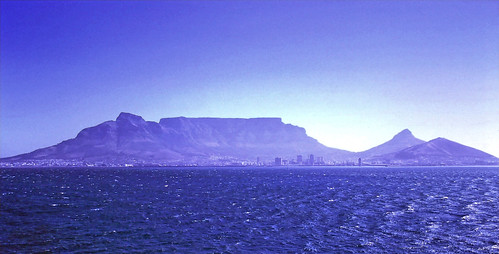 Distant view of Table Mountain from the Atlantic