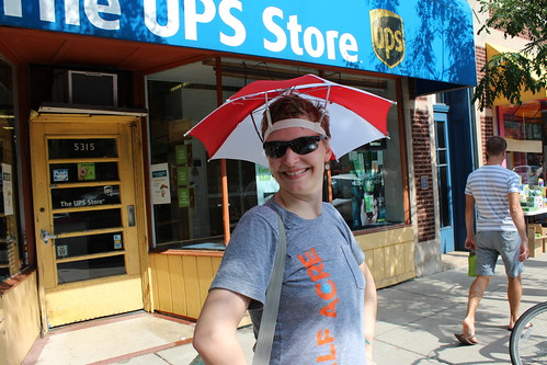 Erica in her new umbrella hat