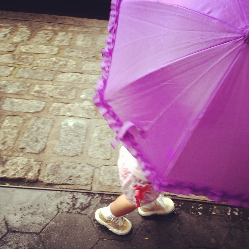 The Purple Umbrella and the gold shoes