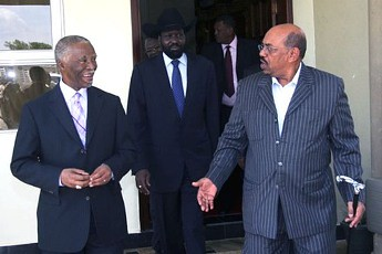 African Union mediator for the Sudans, former President Thabo Mbeki, with Presidents Silva Kiir of the Republic of South Sudan and Omar Hassan al-Bashir of the Republic of Sudan. The two sides may meet at the UNSC. by Pan-African News Wire File Photos