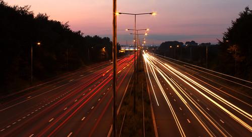 road street bridge trees sunset red white canon lights exposure motorway streaks 1100d