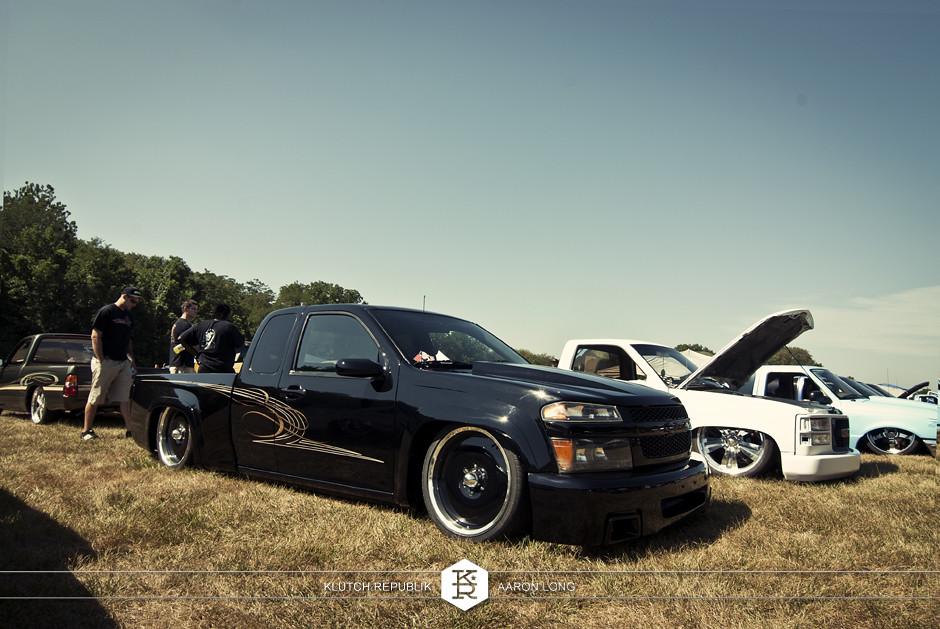 black chevy colorado truck extended cab black wheels bagged pinstripe  at camp n drag 2012 seen on klutch republik