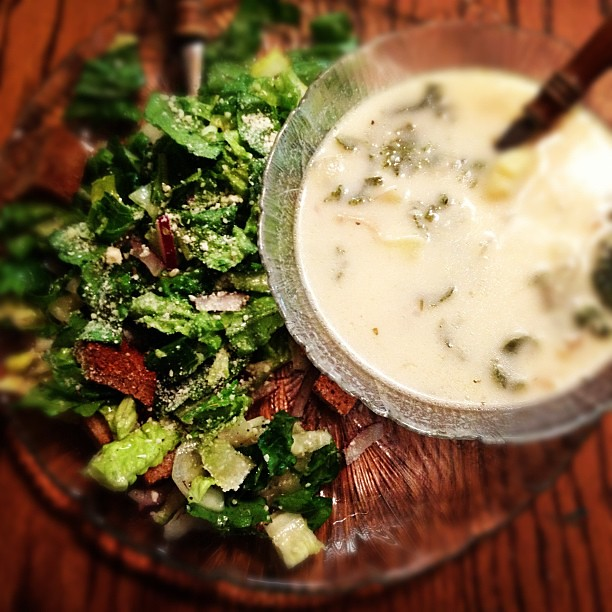 Homemade Zuppa Toscana and marinated Italian salad.  Leftovers from last night's dinner. Yum!