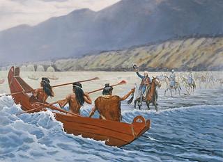 Chumash-Indianer in Plankenbooten