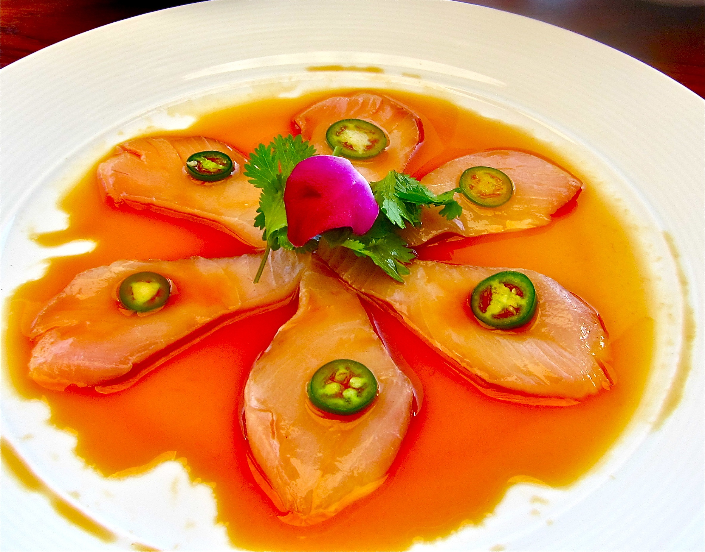 yellowtail sashimi with jalapeno peppers