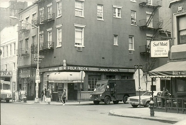 The Back Fence music bar on Bleecker Street, Greenwich Village, New York, November 1983.
