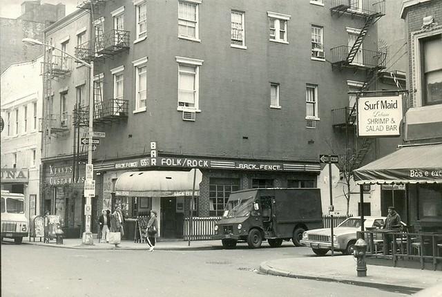 The Back Fence music bar on Bleecker Street, Greenwich Village, New York, November 1983.