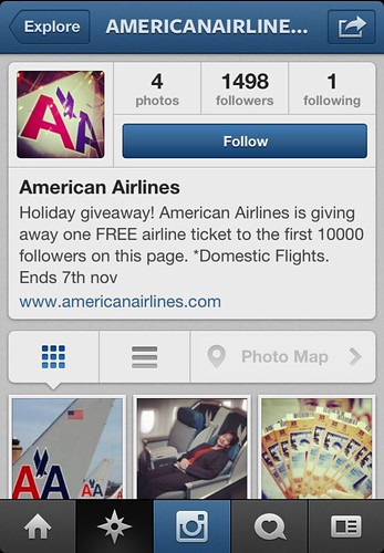 Fake American Airlines Instagram