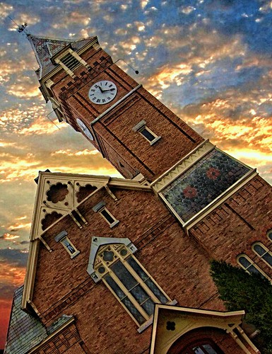 """york travel sunset sky ny building tower clock church architecture clouds town us district united small gothic historical methodist 1001nights marcellus """"new """" nrhp 1001nightsmagiccity onasill """"onondaga county""""village"""