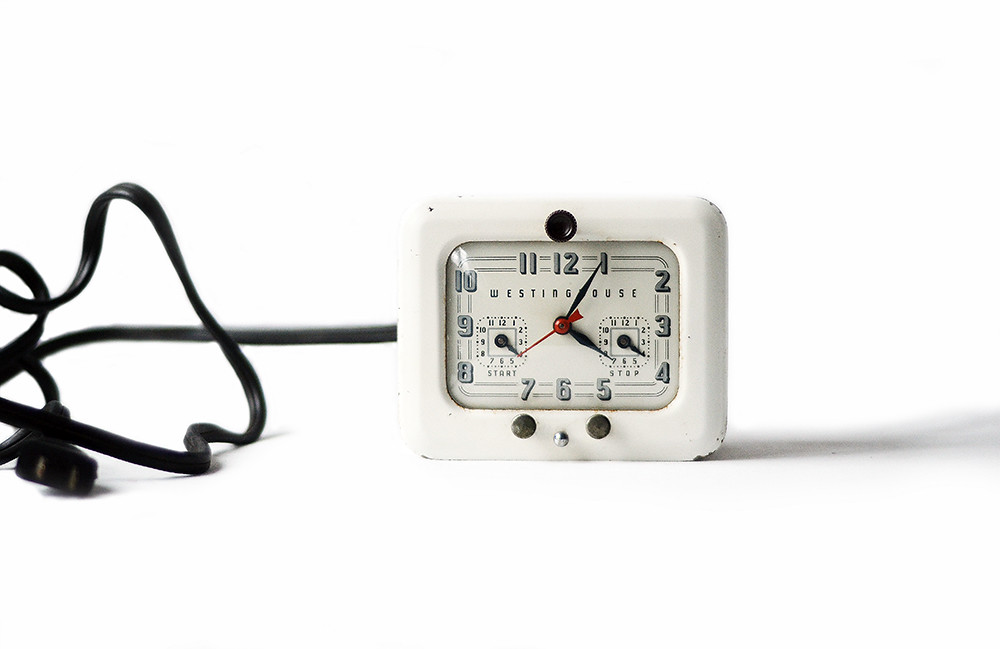 Vintage White Westinghouse Electric Clock