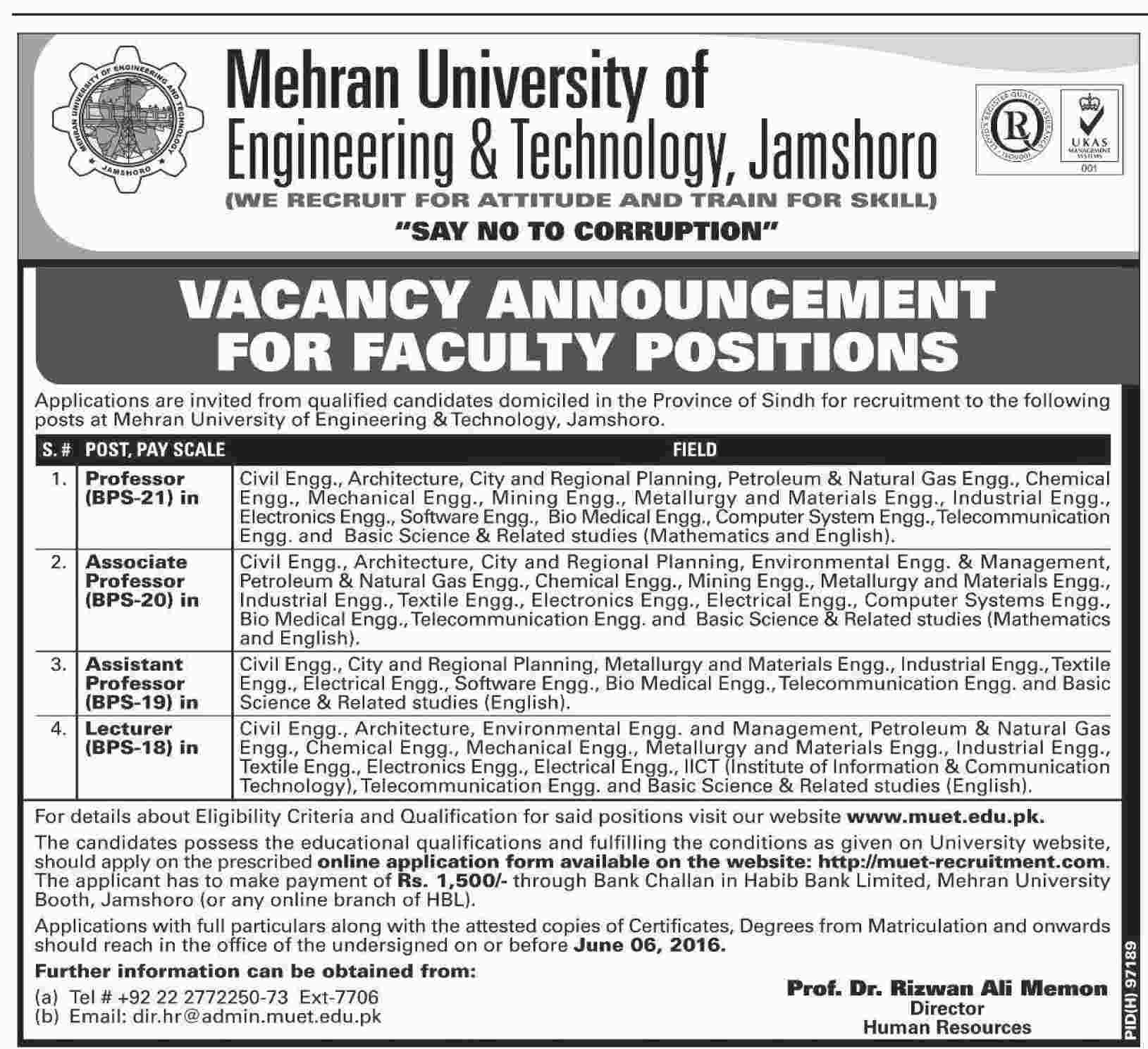 Mehran University of Engineering and Technology Jamshoro Faculty Required
