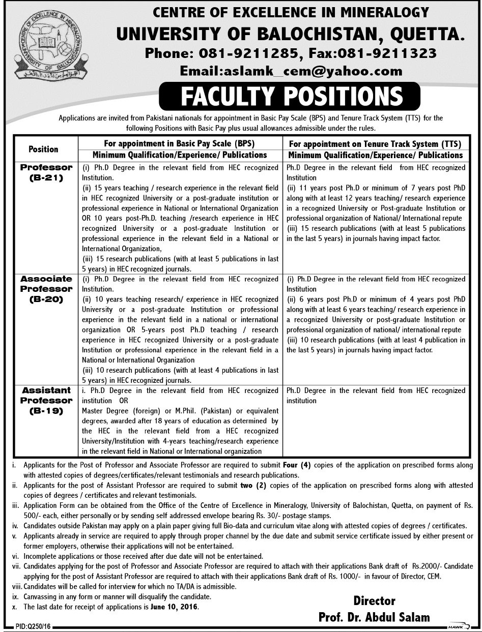 University of Balochistan Quetta Jobs 2016