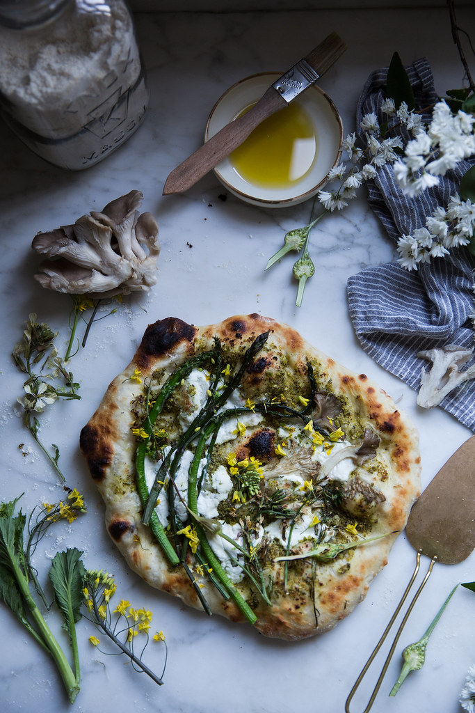Food photography - flatbread topped with asparagus and ricotta