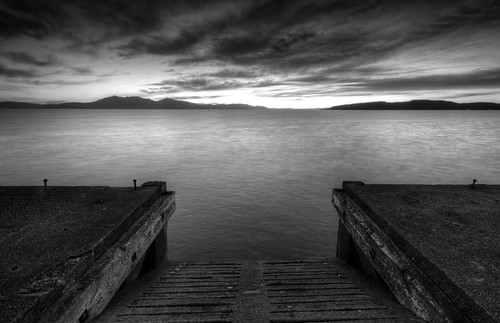 Arran from Portencross pier b&w 2