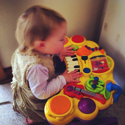 Tiny feeling the music at the Natural Learners Co-op today :)