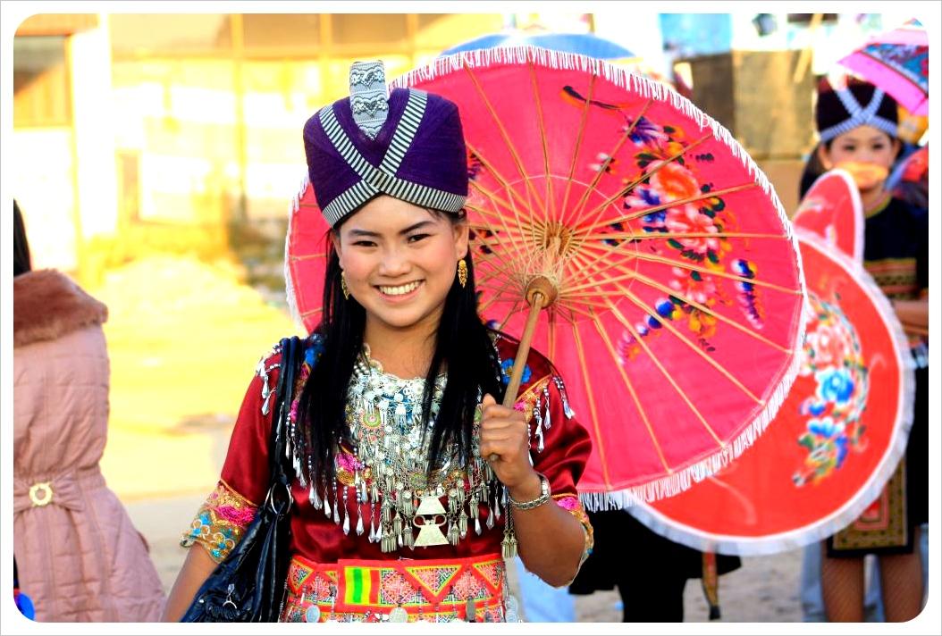 hmong girl with umbrella