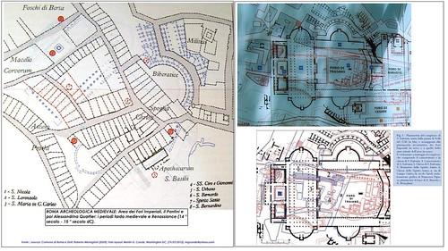 ROMA ARCHEOLOGIA: Area dei Fori Imperiali - Piano delle strutture residenziali, chiese, giardini e sovrastante la zona del Foro di Traiano, il periodo tardo-medievale e del primo Rinascimento [2011-12].