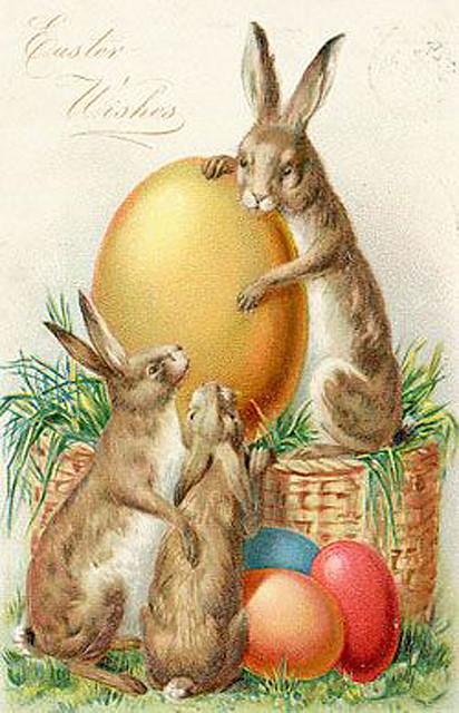 EasterBunnieswithcoloredeggs