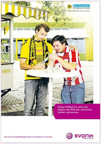 """""""Tempo-Fußball ist, wenn die Gegner des BVB den verlorenen Spielen nachweinen"""" (Evonik-Anzeige zum Spiel Borussia Dortmund vs. FC Bayern München)"""